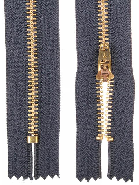 Молния металлическая джинсовая неразьемная, однозамковая 10см №318 темно-синий