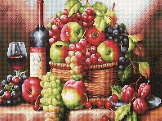 """Алмазная мозаика Raduga """"Вино и фрукты"""" 40х50 см, на подрамнике"""