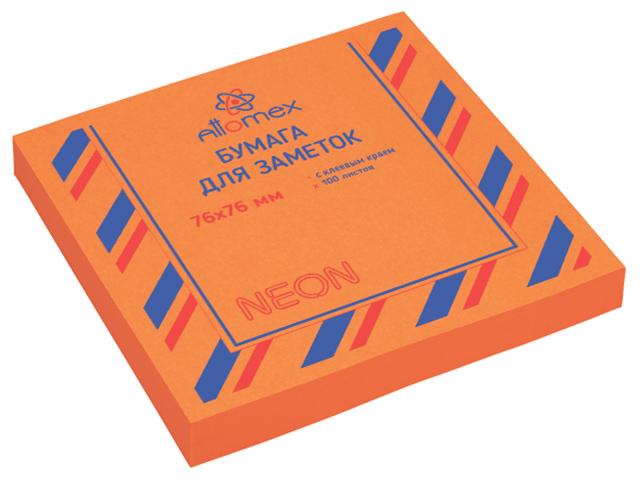 Блок для записей с клеевым краем Attomex 76х76 мм 100 листов, неоновый оранжевый