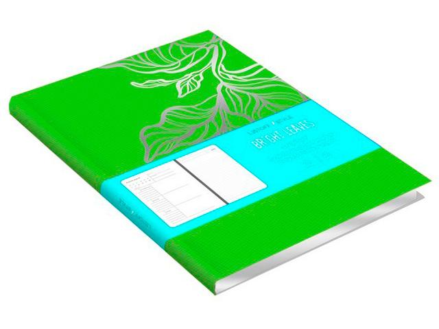 """Ежедневник недатированный А5 136 листов Listoff """"Bright leaves"""" обл. иск. кожа с тиснением, ляссе, зеленый"""