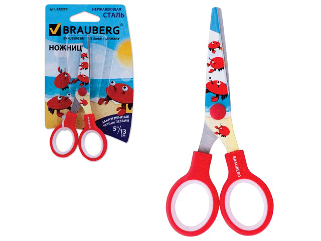 """Ножницы BRAUBERG """"Краб"""", 130 мм, с цветной печатью крабов, красные, в картонной упаковке с европодвесом, 232270"""