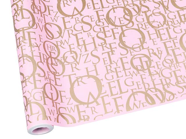 "Бумага упаковочная ""Letters"" крафт, 70см, розовый-золото"