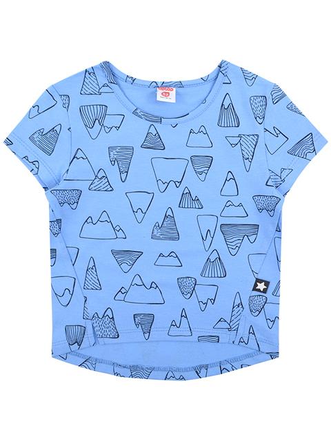 Футболка для девочки, голубая, рисунок горы, размер 56/110см