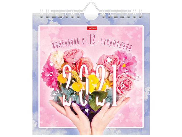 """Календарь настольный домик на 2021 год Хатбер """"POST. Цветы"""" с открытками, на гребне"""