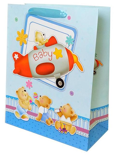 """Пакет подарочный бумажный 31х42х12 """"Малыш-мишка в самолете"""" ламинированный"""