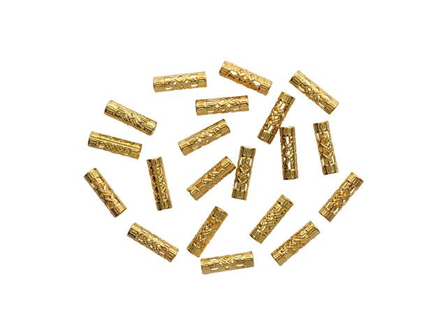 """Декоративный элемент """"Трубочка"""" золото, 4x13 мм, 20 штук в упаковке"""