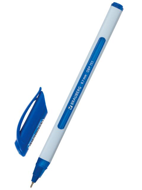 """Ручка шариковая масляная BRAUBERG """"Extra Glide Soft White"""", трехгранная, 0,7 мм, корпус серый, синяя"""