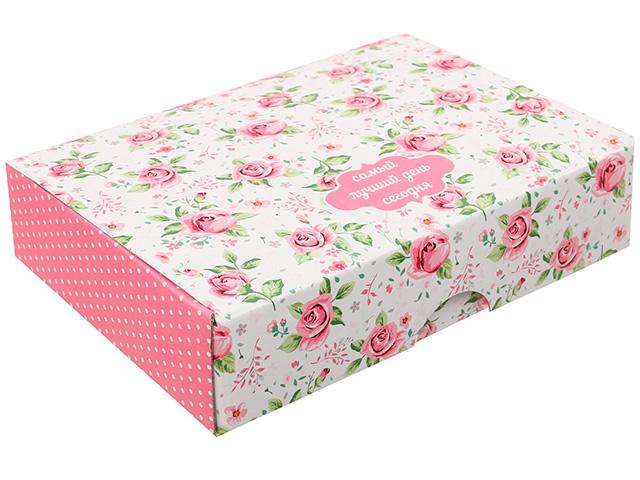 """Коробка подарочная складная """"Самый лучший день сегодня"""" 21х15х5 см"""