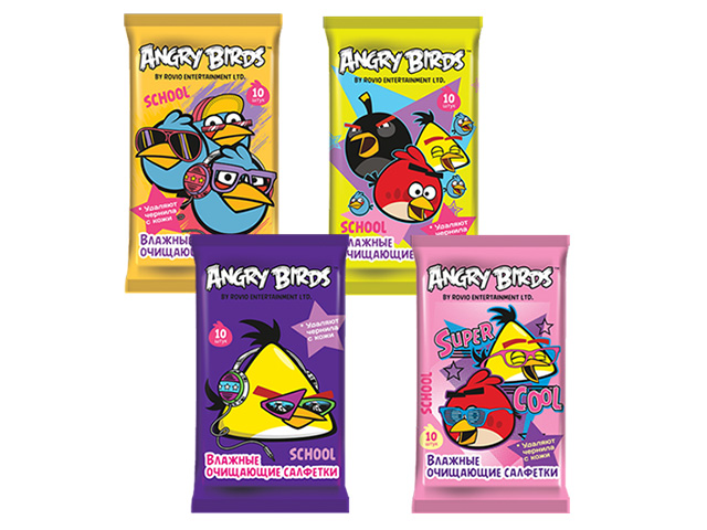 """Салфетки влажные """"ANGRY BIRDS. School"""", 10 штук"""