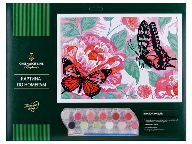 """Картина по номерам А3 Greenwich Line """"Бабочки"""""""