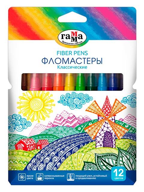 """Фломастеры Гамма """"Классические"""" 12 цветов, смываемые, в картонной упаковке с подвесом"""