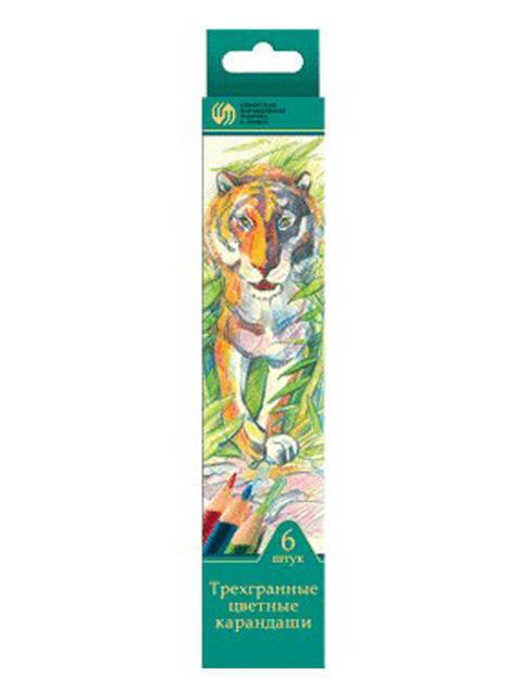 """Карандаши цветные СКФ """"Сибирский кедр. Дикие кошки"""" 6 цветов, в карт. упак."""