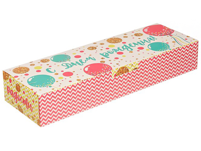 """Коробка подарочная складная """"С Днем Рождения"""" 30х10х5 см"""