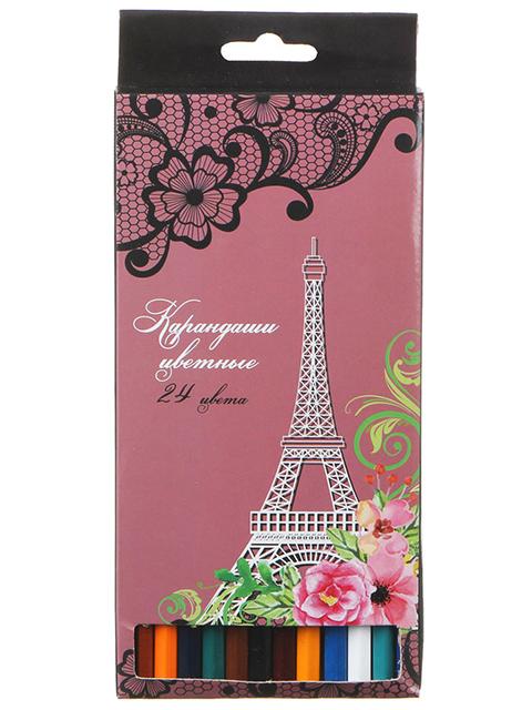 """Карандаши цветные """"Париж"""" 24 цвета, деревянные, шестигранные, картонная упаковка, европодвес"""