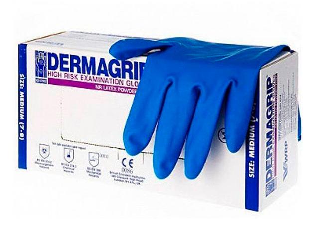 Перчатки DERMAGRIP HIGH RISK смотр.,латекс.,нестер.,неопудр.,, размер L