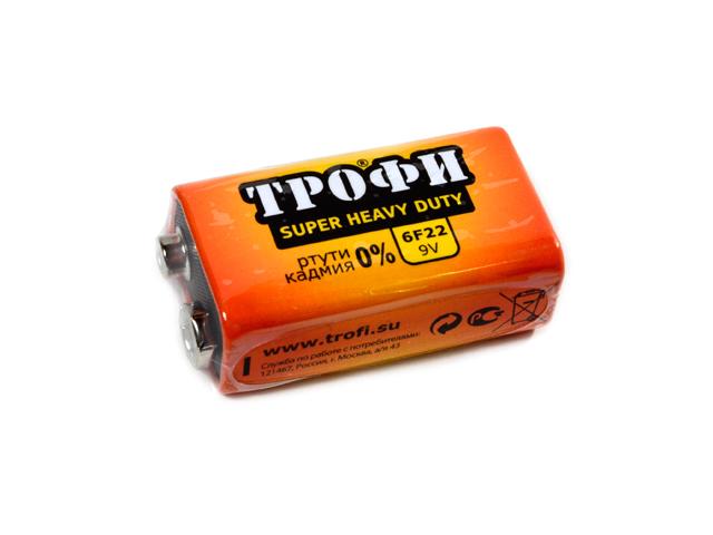 Батарейка солевая (крона) Трофи 6F22-1S (1 шт)