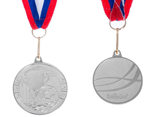 """Медаль тематическая """"Футбол"""" 176 (4 см), металлическая, на ленте, серебро"""