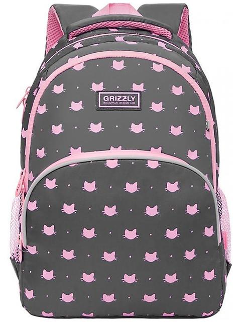 Рюкзак школьный GRIZZLY 27х40х20 см, полиэстер, 2 серый