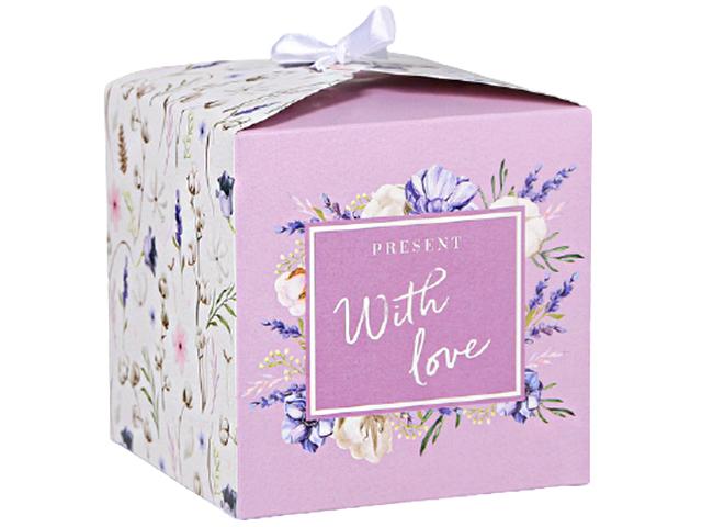 """Коробка подарочная складная """"Present with love"""" 12х12х12 см, с атласной лентой"""