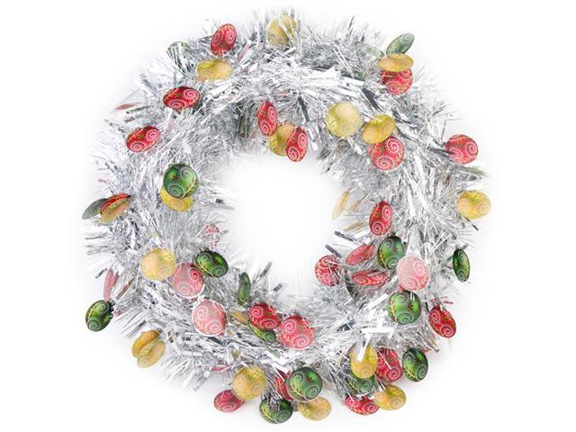 """Новогоднее украшение """"Венок серебристый с елочными шарами"""" d-40см, пластик"""