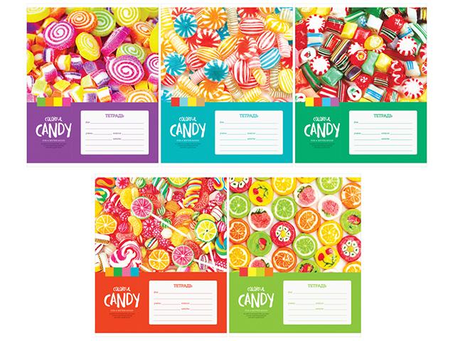 """Тетрадь А5 12 листов, клетка ArTSpace """"Леденцы. Colorful candy"""" обложка мелованный картон"""