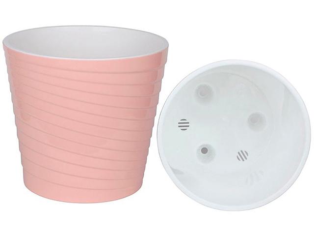 """Горшок для растений """"Эйс"""" 2,7л, d-17см, h-16см, с вкладкой, розовый-белый"""