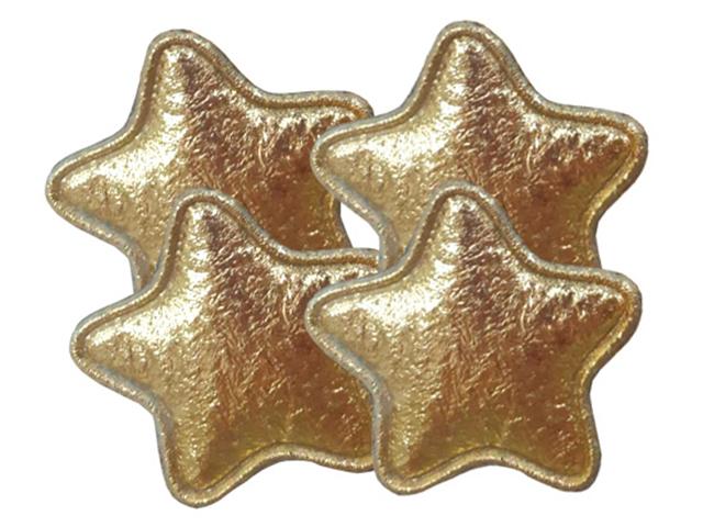 """Декоративное украшение для творчества """"Золотые звезды"""" 3,3х0,2х3,3см, 4 штуки в наборе"""