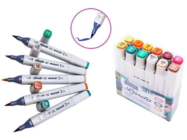 "Набор маркеров для скетчинга Mazari ""Lindo"", 1-7 мм, двусторонние, 12 цветов (цвета леса)"