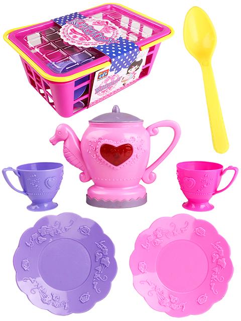 """Игровой набор посуды """"Веселое чаепитие"""" 13 предметов в корзинке"""