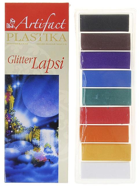 """Пластика """"LAPSI Glitter"""", набор 9 цветов с блестками,180 гр."""