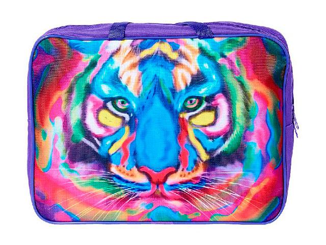 """Папка А4 Канцбург """"Разноцветный тигр"""" тканевая на молнии, ручка-тесьма, фиолетовая"""