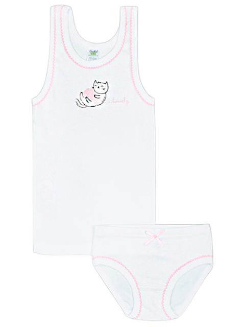 """Комплект для девочки майка + трусы """"Стежки на розовом"""" размер/рост : 52/86-92"""