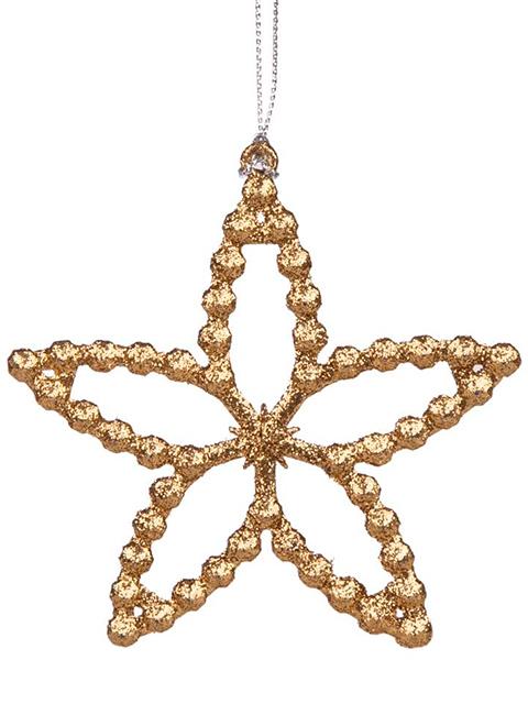 """Новогоднее украшение """"Звездочка золотая"""" 10 см, пластик"""