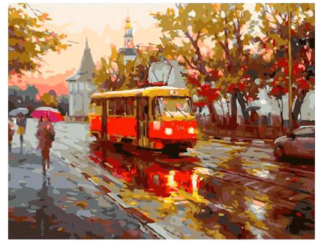 """Картина по номерам PaintBoy """"Трамвай под дождем"""" 40*50см"""