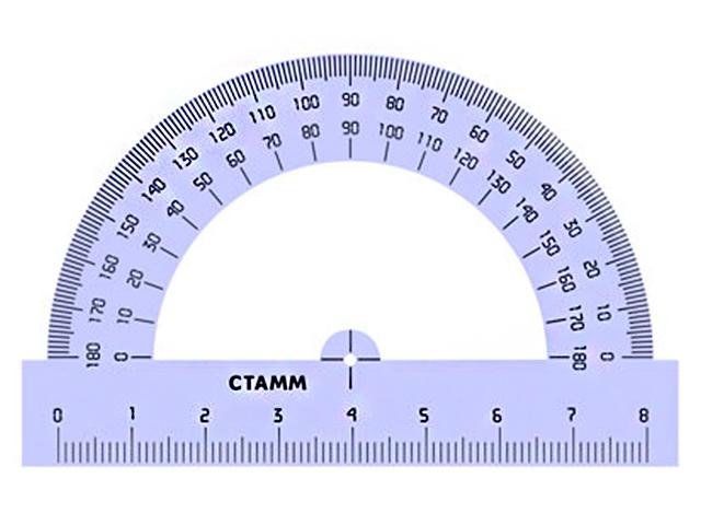 Транспортир 180° 8 см СТАММ, прозрачный тонированный голубой