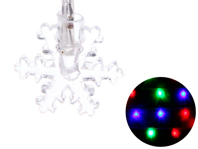 """Гирлянда электрическая 12 ламп """"Снежинка"""" 2,5 м, мультицвет, авторежим, 220В"""