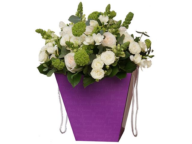 Коробка для цветов Яркий Мир, 160х280х280 мм, фиолетовый