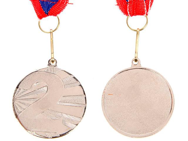 """Медаль призовая """"2 место"""" 045 4,5 см, металлическая, на ленте, серебро"""