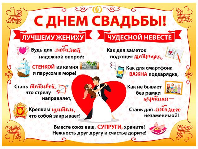 """Плакат А2 """"С днем свадьбы!"""" [070.819]"""