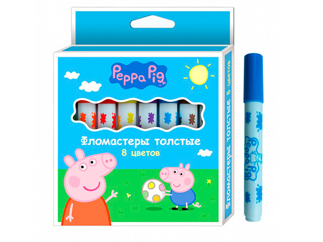 """Фломастеры Росмэн """"Peppa Pig"""" 8 цветов, толстые, в карт. упак."""