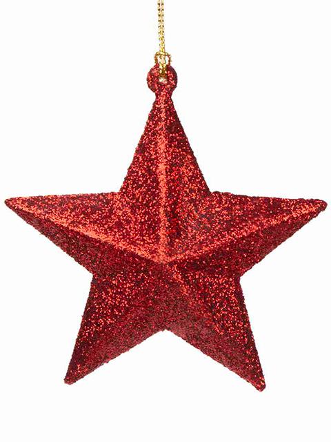 """Новогоднее украшение """"Звезда красная"""" 10х9,5х3,5 см, пластик"""