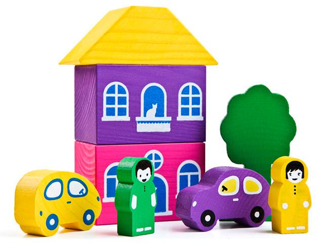 """Игровой набор Томик """"Цветной городок"""" фиолетовый, 8 деталей, дерево"""