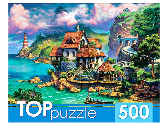 """Пазлы 500 элементов 485х345 Рыжий кот """"Toppuzzle. Прибрежный домик"""""""