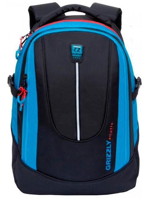 Рюкзак подростковый GRIZZLY 30х44х20 см, полиэстер, черный-синий