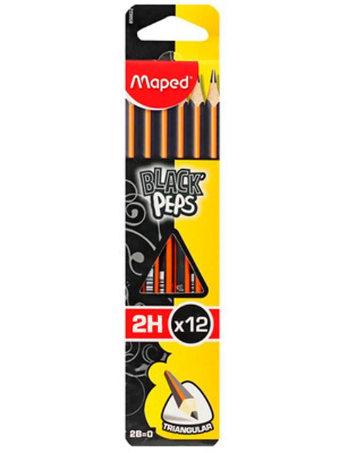 """Карандаш чернографитный Maped """"Blaсk Pep`s"""" 2Н, трехгранный, с ластиком"""
