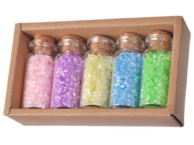 Набор бисера №1 Mazari, 5 цветов x 13 г, стеклянная колба., в картонной коробке