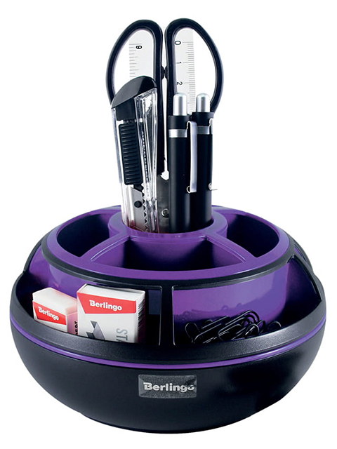 """Набор настольный Berlingo """"Apex"""" 9 предметов, вращающийся, черный/фиолетовый, в картонной упаковке"""