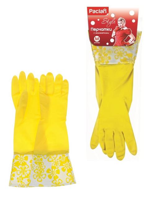 """Перчатки резиновые Paclan """"Style"""", р-р M, с манжетами"""