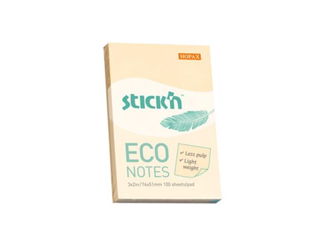 """Блок для записей с клеевым краем Stick'n """"ECO Notes"""" 76х51 мм 100 листов, светло-желтый"""