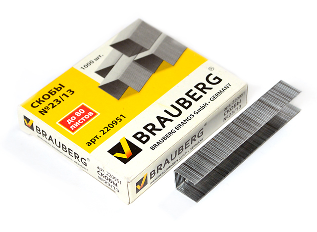 Скобы для степлера BRAUBERG, №23/13 1000 штук, до 80 листов